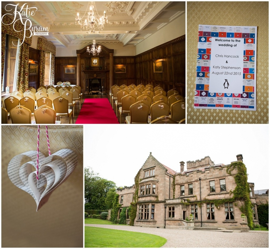 ellingham hall wedding, book themed wedding, northumberland wedding venue, katie byram photography, alnwick wedding,