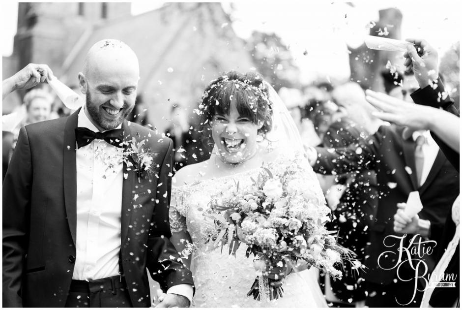 black and white wedding photograph, ellingham hall wedding, valley retro car, wildflower florist, northumberland wedding, northumberland wedding venue, katie byram photography, yap bridal,