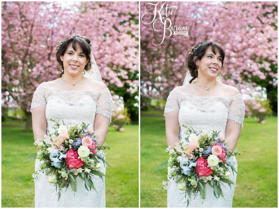 cherry blossom wedding, ellingham hall wedding, valley retro car, wildflower florist, northumberland wedding, northumberland wedding venue, katie byram photography, yap bridal,
