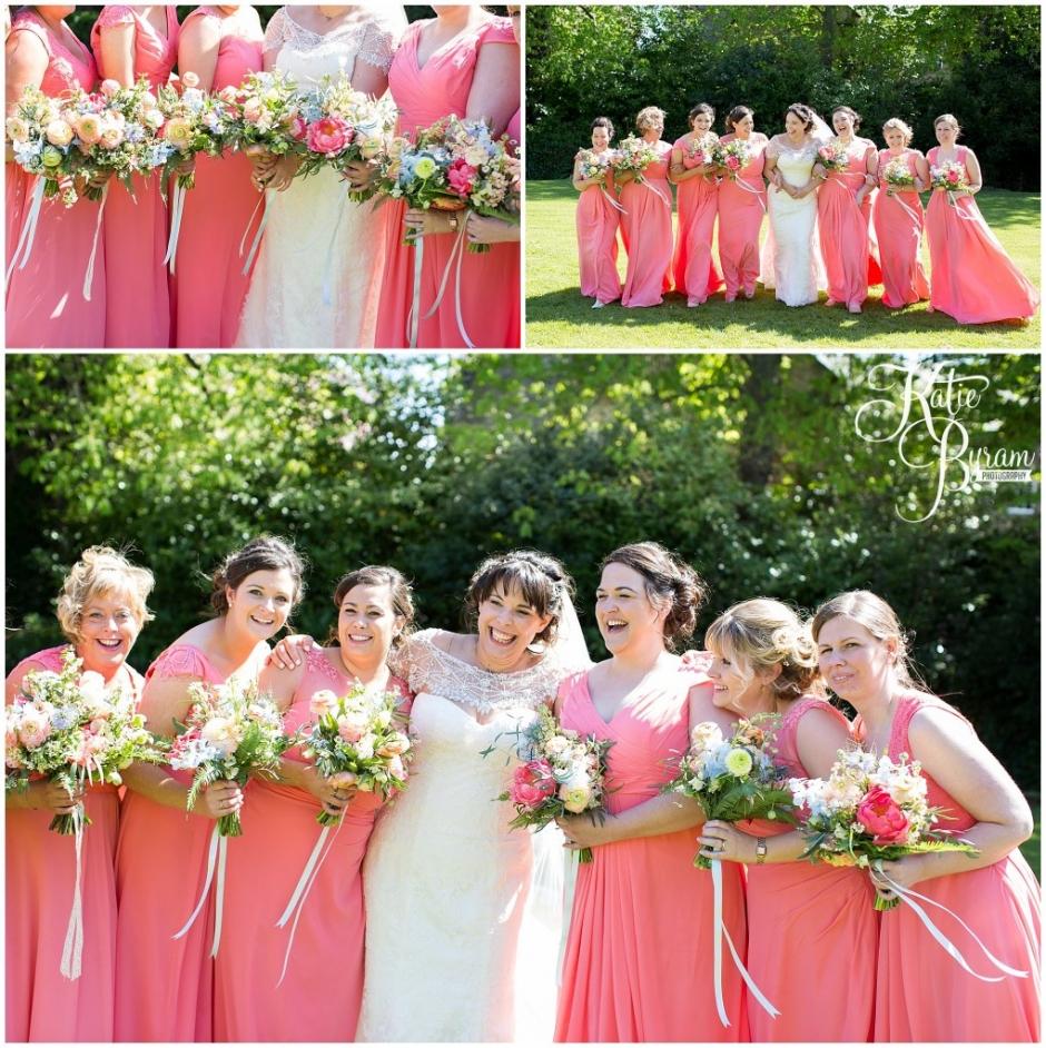coral bridesmaid dresses, ellingham hall wedding, valley retro car, wildflower florist, northumberland wedding, northumberland wedding venue, katie byram photography, yap bridal,