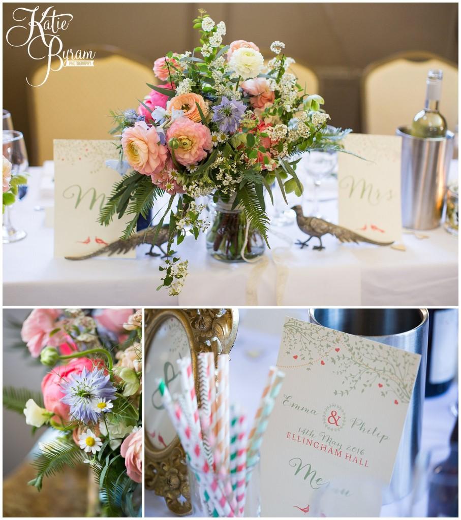 bird themed wedding, ellingham hall wedding, valley retro car, wildflower florist, northumberland wedding, northumberland wedding venue, katie byram photography, yap bridal,