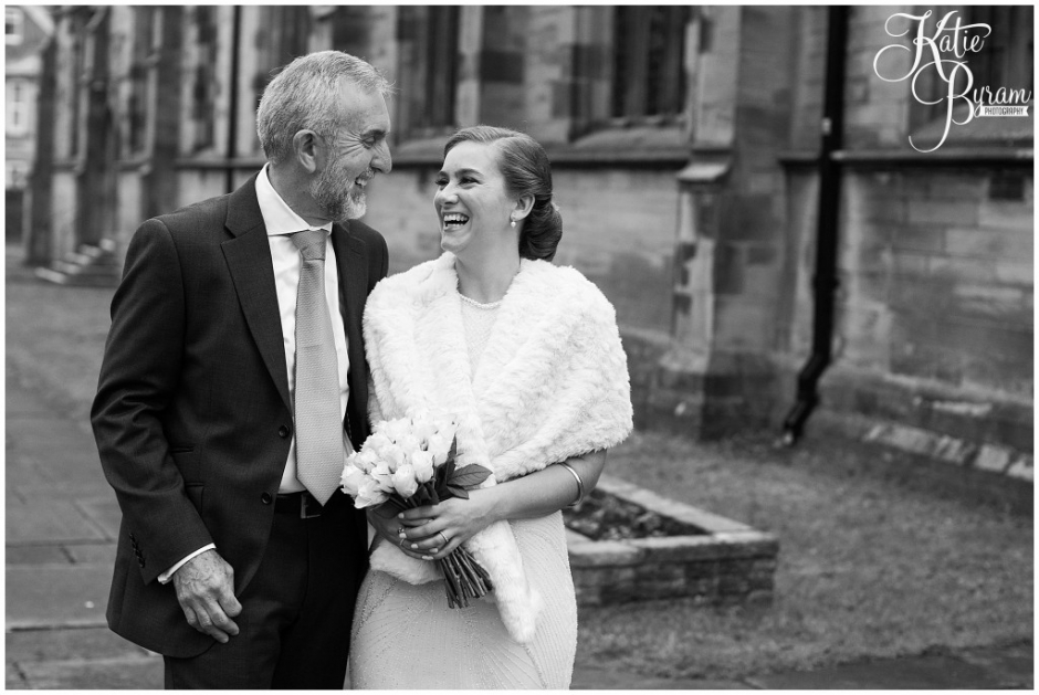 bride and her dad, gosforth wedding, feathers inn, headiey on the hill, northumberland wedding, documentary wedding photographer, katie byram photography, newcastle upon tyne