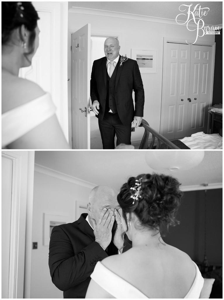 emotional father, wedding day, high house farm brewery, matfen, barn wedding northumberland, outdoor wedding northumberland, katie byram photography, animal themed wedding, healey barn,