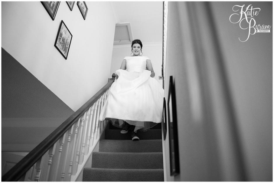 bride coming down the stairs, high house farm brewery, matfen, barn wedding northumberland, outdoor wedding northumberland, katie byram photography, animal themed wedding, healey barn,
