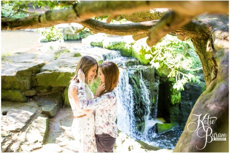 jesmond dene waterfall, jesmond dene engagement, healey barn, jesmond dene wedding, two brides, same-sex couples, same-sex wedding, two bride pre-wedding shoot, lgbt wedding, katie byram photography, relaxed wedding photography, pre-wedding shoot ideas, engagement photos newcastle, newcastle wedding photographer, northumberland wedding,