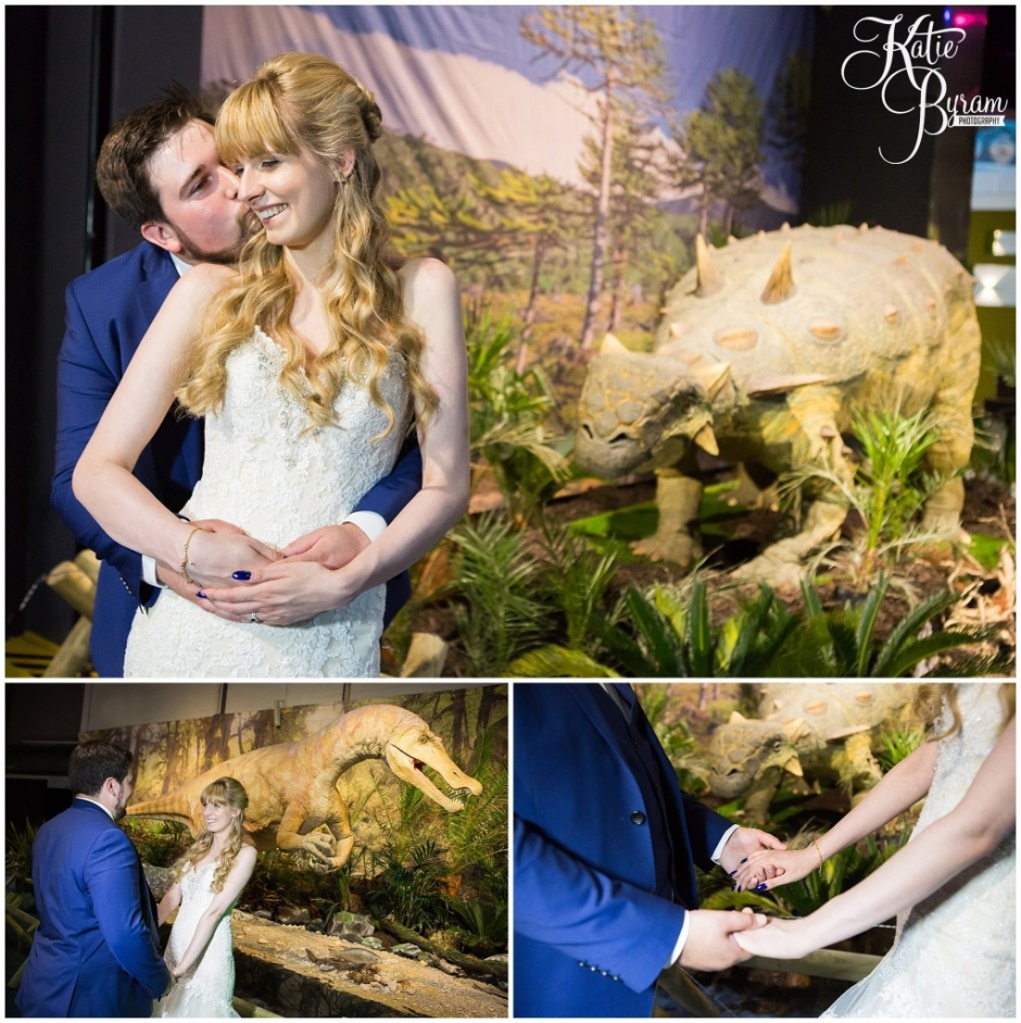 dinosaur wedding photo, dinojaws, dinosaur exhibition, centre for life wedding, planetarium wedding, newcastle city centre wedding, newcastle wedding venue, newcastle upon tyne, katie byram photography,