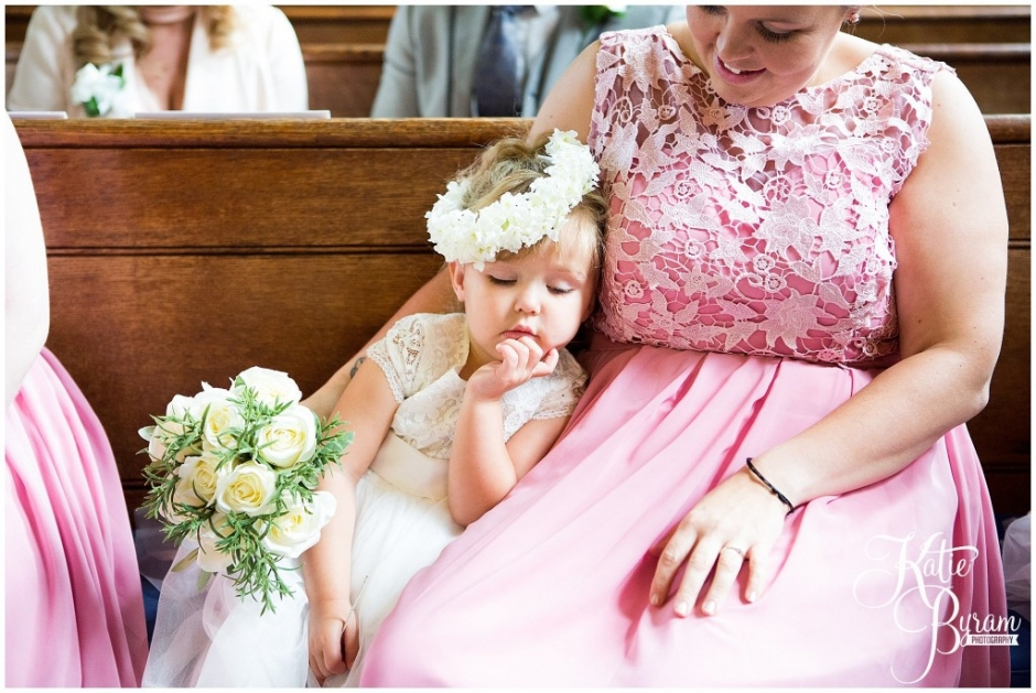 flowergirl asleep, wedding flower girl, flower crown, the arches dean clough, yorkshire wedding venue, halifax wedding venue, saltaire wedding, saltaire church, yorkshire wedding photographer