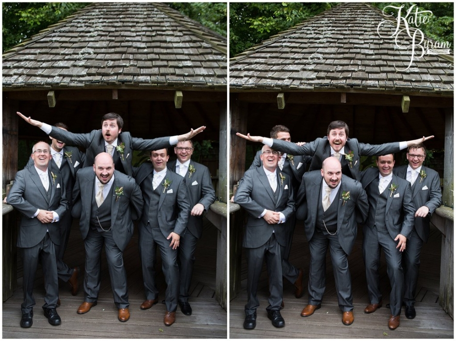 fun group shot, alnwick treehouse wedding, woodland wedding, katie byram photography, cosmic flower shop, foliage bouquet, the plough alnwick, alnwick garden wedding, treehouse wedding photos, treehouse wedding, northumberland wedding venue, quirky wedding venue, after dark wedding, game of thrones wedding, game of thrones theme,