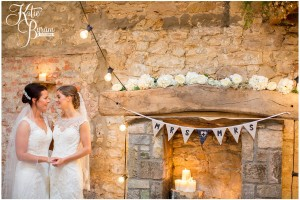 doxford barns wedding, barn wedding northumberland, barn wedding, katie byram photography, two bride wedding, same-sex wedding venue, same-sex couples, threshing hall, dogs at wedding,