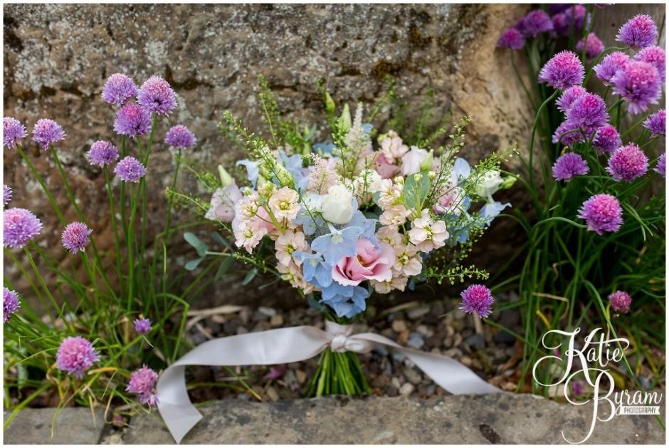 wildflower wedding bouquet, lavenders blue, northumberland wedding florist, brinkburn priory wedding, brinkburn weddings, northumberland wedding venue, katie byram photography, chris and joanna wedding