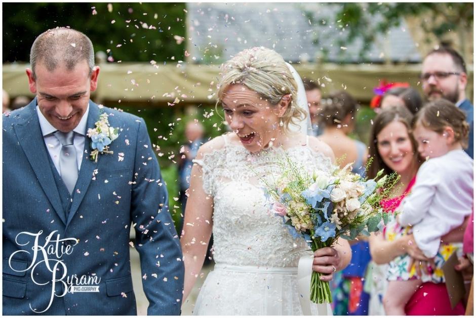 confetti, brinkburn priory wedding, brinkburn weddings, northumberland wedding venue, katie byram photography, chris and joanna wedding