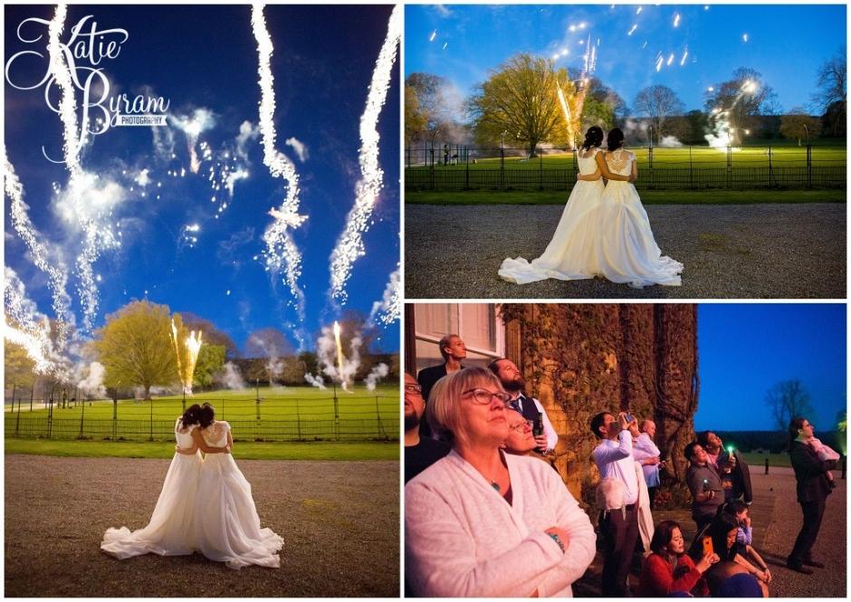 fireworks swinton park, huddersfield wedding photographer, swinton park wedding, katie byram photography, two bride wedding, jea and naz,