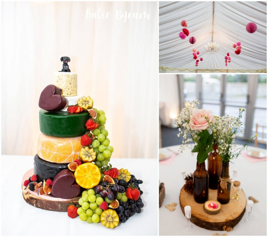 cheese wedding cake, high house farm brewery wedding, dogs at weddings, yorkshire wedding venue, katie byram photography, huddersfield wedding photographer, northumberland wedding venue, outside wedding venue ,