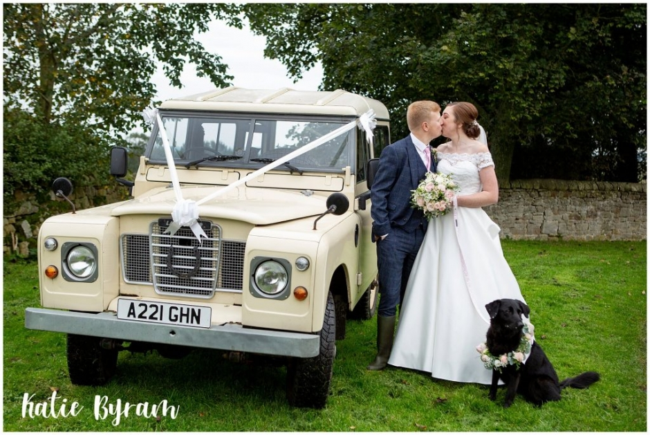 landrover wedding cake, high house farm brewery wedding, dogs at weddings, yorkshire wedding venue, katie byram photography, huddersfield wedding photographer, northumberland wedding venue, outside wedding venue ,