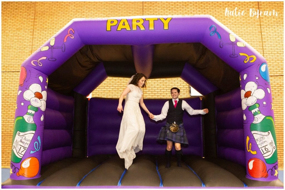 huddersfield wedding photographer, katie byram photography, holy trinity church gateshead, gateshead stadium wedding, bouncy castle wedding